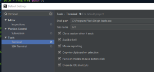 PhpStorm terminal GitBash